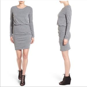 Leith Gray Cotton Ruched Bodycon Dress